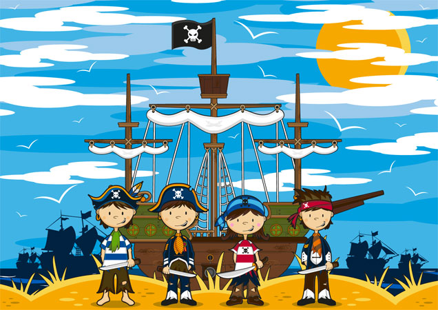 Tapete Kinderpiraten mit Piratenschiff